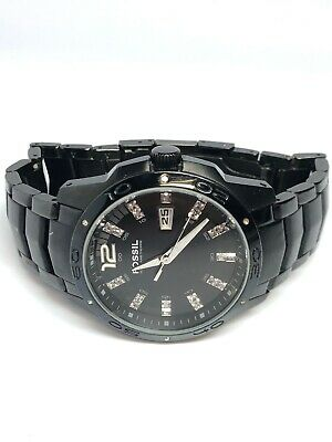 Fossil Ladies Quartz Date Watch Black With White Crystals AM-4174