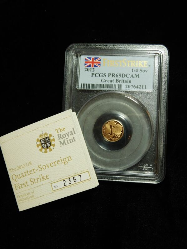 2012 Great Britain UK GOLD 1/4 Quarter Sovereign PCGS PR69 DCAM First Strike!