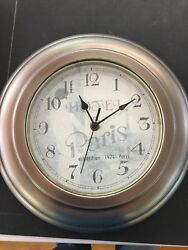 Beautiful Paris Grand Hotel Galvanized Metal Wall Clock Modern Industrial E38