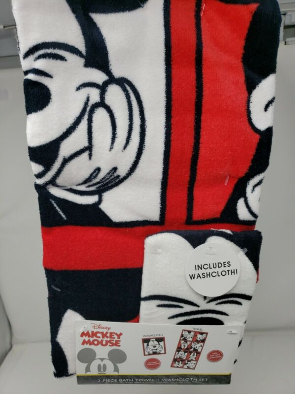 NEW Mickey Mouse 2 Piece Bath Towel and Washcloth Set FREE SHIPPING