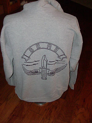U.S. ARMY GRAY OXFORD SWEATSHIRT HOODIE  SERE KNIFE AND WINGS