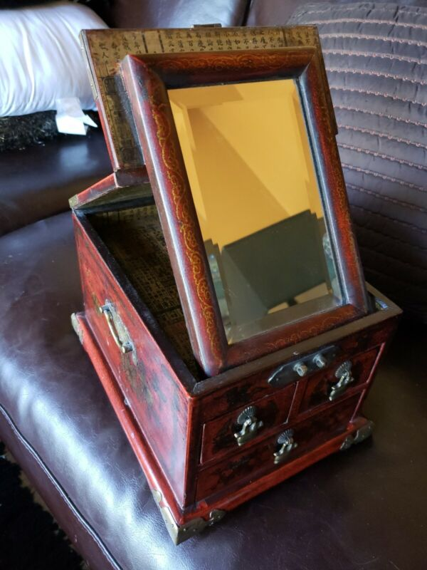 Exquisite Antique Japanese Vanity Box With Japanese Writing Details