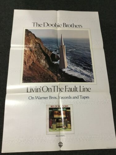 VINTAGE 1977 DOOBIE BROTHERS LIVIN ON THE FAULT LINE PROMO POSTER