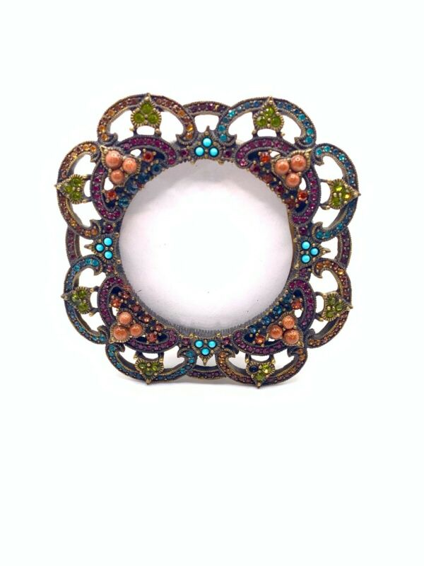 Jay Strongwater Coral And Turquoise Mini Frame With Swarovski Crystals