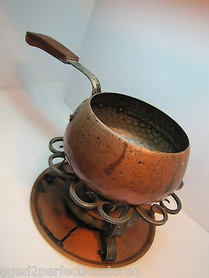 Mid Century Modern Hand Hammered Copper Pot Burner Tray Stand McM Fondue Cooking