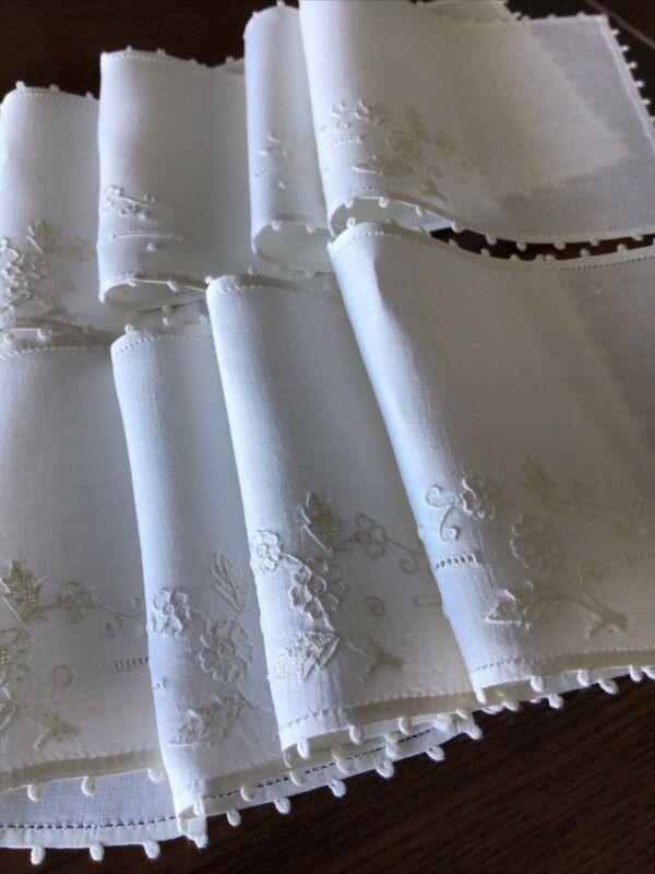 8 Vintage MADEIRA Cocktail Napkins Floral Embroidery, White Linen  Picots. SHT-1