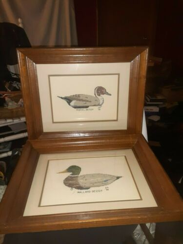 Pair of Vintage Framed Needlepoint Mallard & Pintail Duck Decoy Pictures