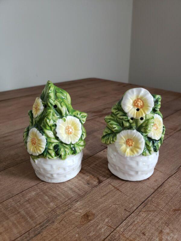 """Vintage Lefton Flower Pot Floral Salt & Pepper Shakers 3 1/2"""""""