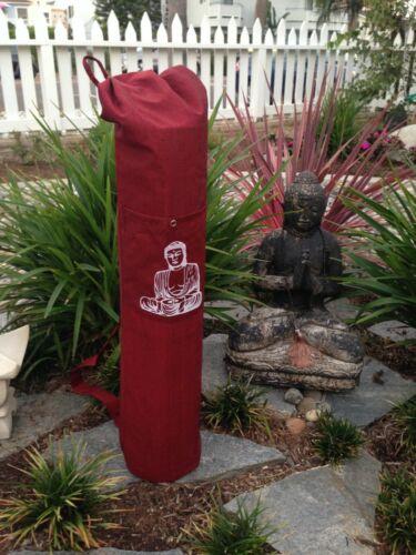 Wine Red Cotton Yoga Mat Bag.Shoulder Straps.Front Pocket.Buddha Print.HANDMADE