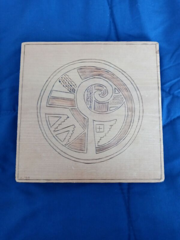 HAND CARVED TRIBAL DESIGN PICTURE ART ON WOOD ARTIST SIGNED & DATED 1988