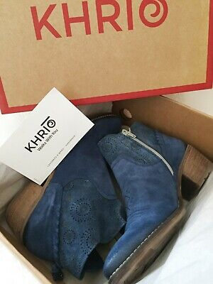 KHRIO ANKLE BOOTS, FLORENCIA, SUEDE LEATHER, BLUE, WESTERN STYLE, 5 UK, 38 EU