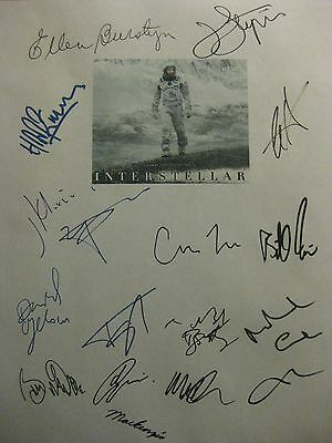 Interstellar Signed Script X16 Matthew McConaughey Anne Hathaway Matt Damon rpnt