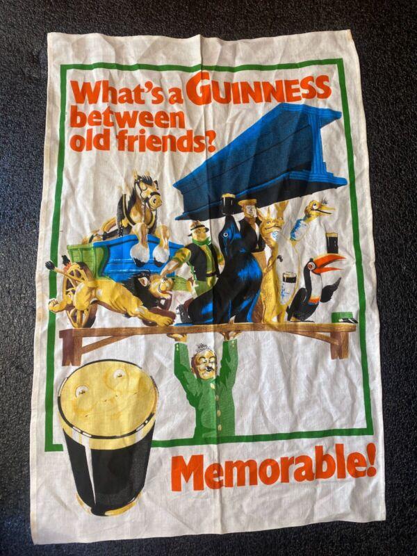 "Vtg Rare GUINNESS Linen Towel "" What's A Guinness Between Old Friends?"" 29x19"