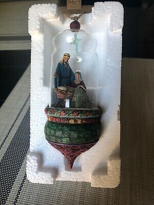 2007 Jim Shore Heartwood Creek HOLY FAMILY Glass Dome Ornament 4008194