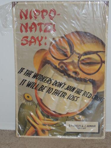 WW2 Era Authentic Poster Japanese Nippo Natzi  D Floasin & J. Armour Dept 215
