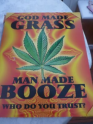 """GOD MADE GRASS,** Vintage  1970's - 1980's   POSTER BOARD **16"""" x 20"""""""