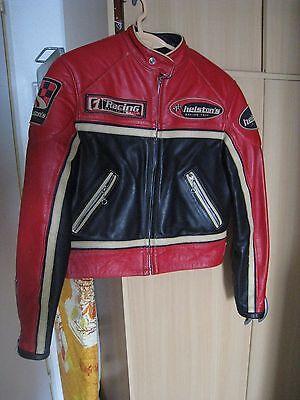 Vêtement femme blouson moto cuir rouge noir heltons taille l neuf 450 €