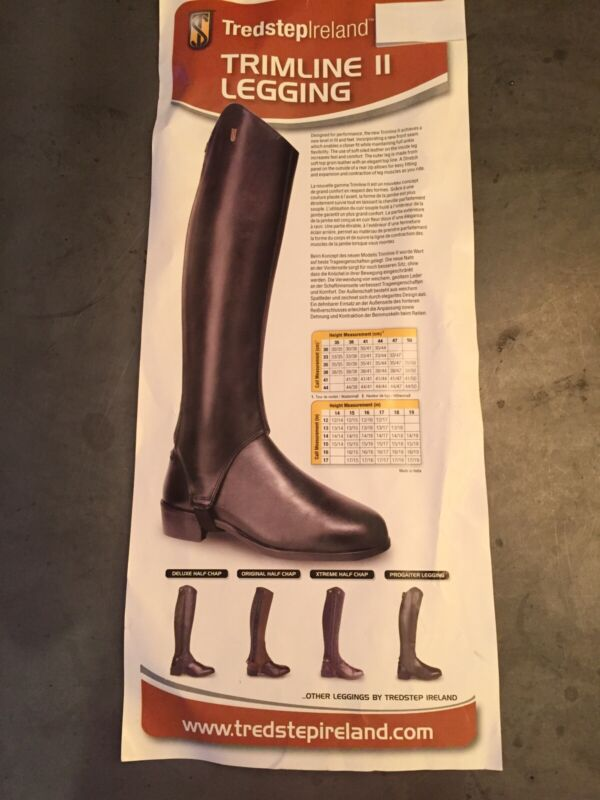"""New In Bag! Brown Tredstep Trimline II Leather Half Chaps, 15"""" Calf, 15"""" Height."""