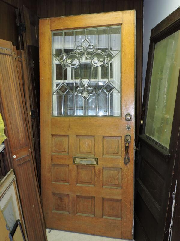 ANTIQUE 9 PANEL EXTERIOR ENTRY FRONT WOOD TIGER OAK DOOR BEVELED GLASS 89 X 40