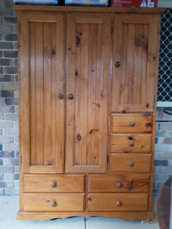 Solid timber wardrobe with drawers