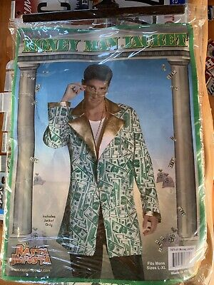 Money Man Costume Jacket Halloween $100 Bill Coat Suit Adult L-XL