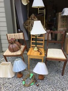 Individual wooden chairs and lamps