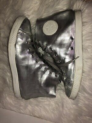 CONVERSE Chuck Taylor All Star Hi Metallic Silver Grid Leather Shoes US 8