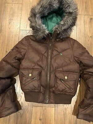 Abercrombie Brown Bomber Jacket L Puffer Hooded Faux Fur Coat