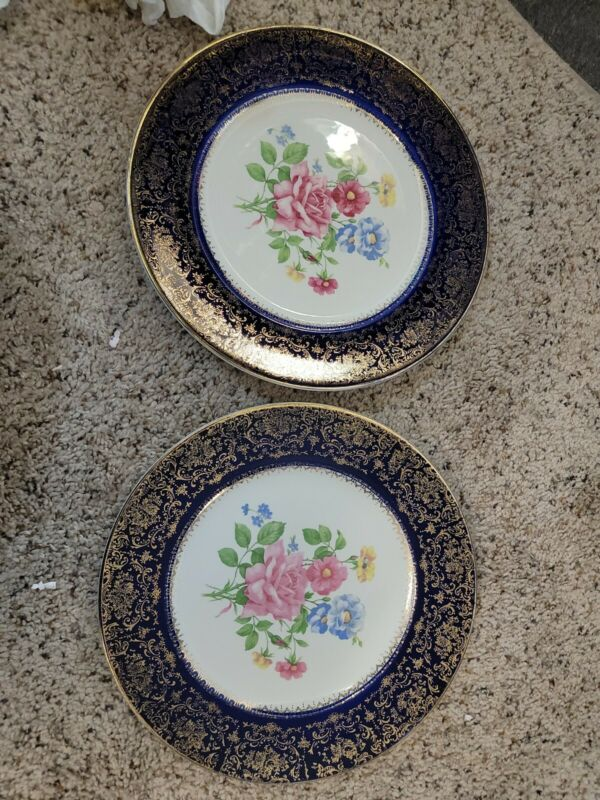 VINTAGE Set of 2 Imperial SALEM CHINA CO Floral COBALT 23K GOLD PLATE CHARGER