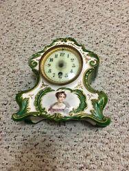 Antique Porcelain Clock Shelf Desk Table top Ceramic Portrait Clock Original