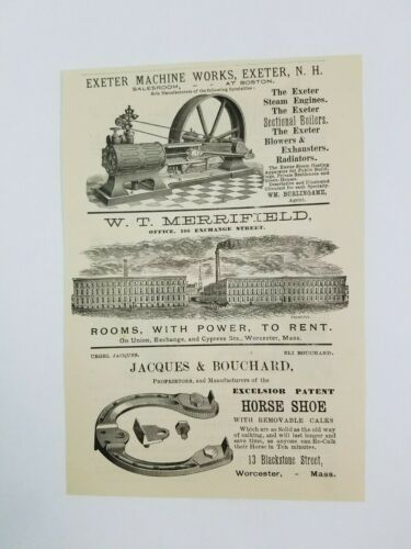 1890 Worcester Massachusetts Advertisement Exeter Machine Works Jacques Bouchard