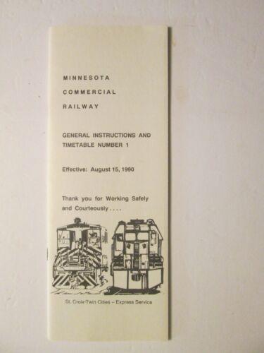 Minnesota Commercial Railway Time Table No. 1 Aug. 15, 1990