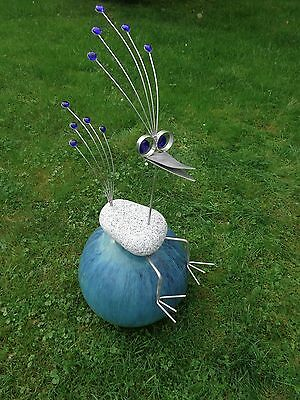 edelstahl vogel garten skulptur 65cm granitvogel v2a kantenhocker ebay. Black Bedroom Furniture Sets. Home Design Ideas