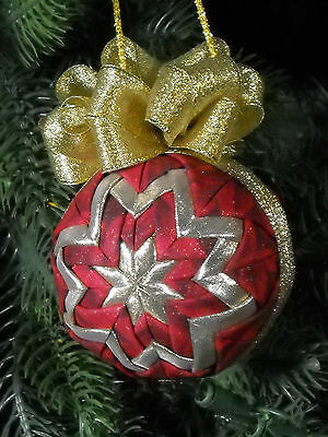 Quilted Christmas Ornament Handmade Red and Gold One of a Kind #18