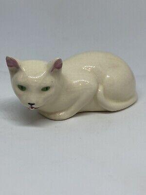 Vintage MCM Mid Century Modern White Porcelain Cat Kitty Laying Green Eyes 50s