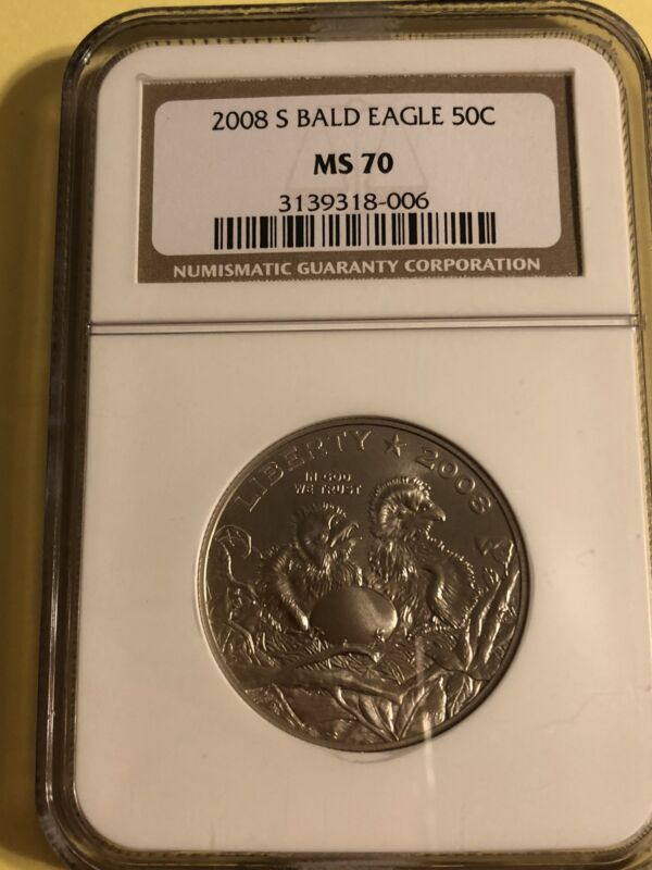 2008 S Bald Eagle Commemorative 50C (Half Dollar) Coin, NGC: MS 70.