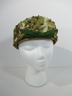 Vintage Hat Pillbox Gimbels Camo Pattern Green Beads Bow Size 22 Cosplay
