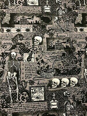 Halloween Spooky Gothic Writing Skeleton Spider Bat Cemetery Potion Fabric BTHY (Halloween Cloth)