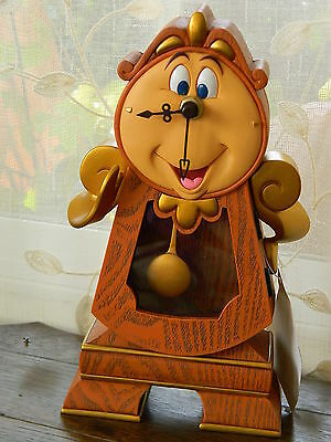"Disney Parks Beauty and the Beast Cogsworth Clock Working Figurine 10"" NEW"