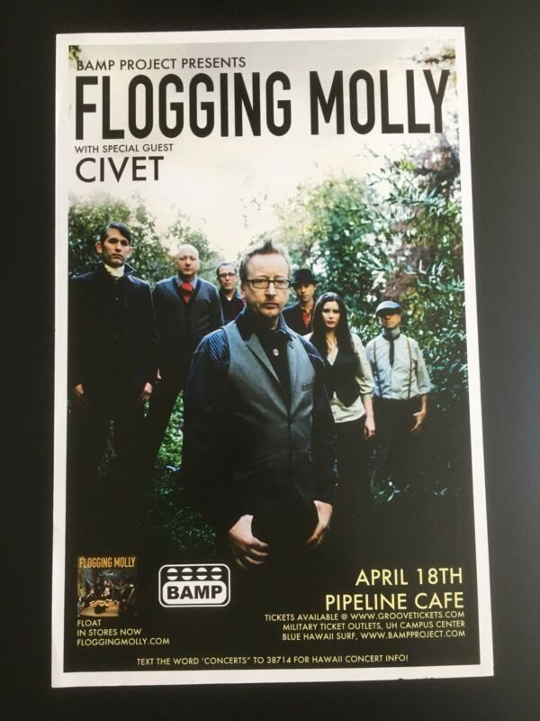 FLOGGING MOLLY WITH SPECIAL GUEST CIVET ORIGINAL HAWAII CONCERT POSTER Closeou