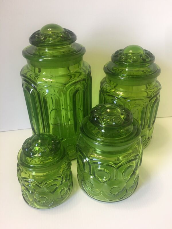 LE Smith Moon & Stars Green Canisters with Lids Set of 4 Very Nice Condition