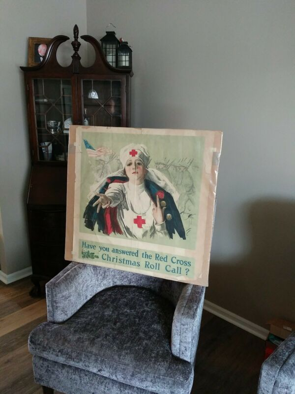 WWI American Red Cross Poster  1918 - Christmas Roll Call - Original Lithograph!