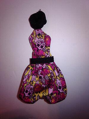 Inner Monster High Spooky Sweet Pink Yellow Black Skull Poof Ballon Dress  ()