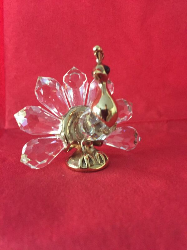 peacock figurine, vintage, with swarovski®️ cut crystal, collectable