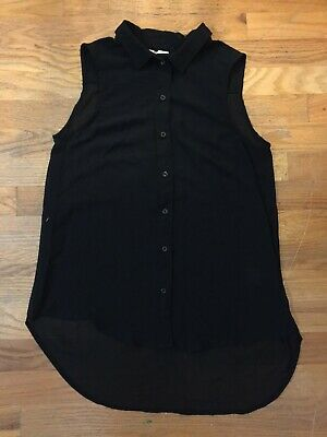 Women's H&M Size 4 Black Chiffon Sleeveless Blouse