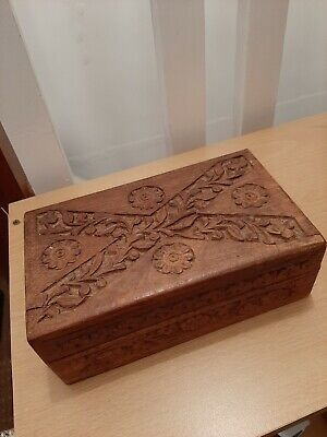 Vintage Hand Carved Jewellery Box.