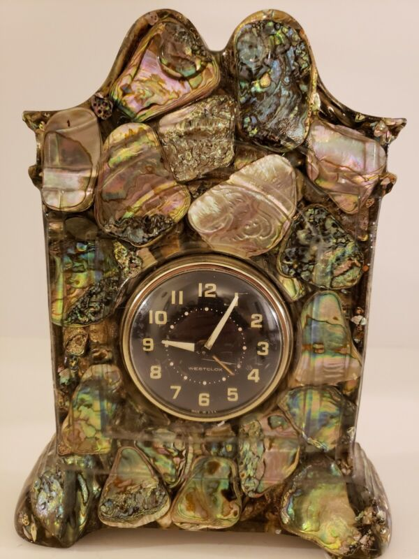 Vintage Mid Century WESTCLOX Mantel Shelf Clock with MOP and Stone Epoxy Case