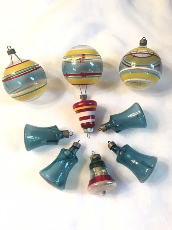 7-VTG WW2 UNSILVERED GLASS CHRISTMAS STRIPE ORNAMENTS + 2 SHINY BRITE BELLS