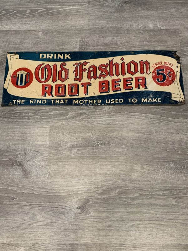 Vintage Old Fashion Root Beer Mother Used To Make Embossed Metal Sign