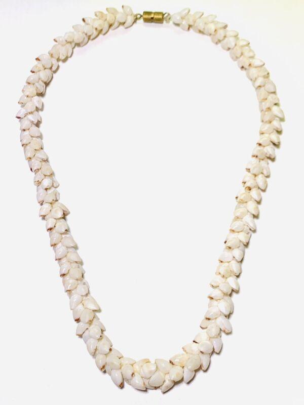 "100% Niihau Shell 16"" Red Tip Momi Hawaiian Jewelry Necklace Authenticity Seal"